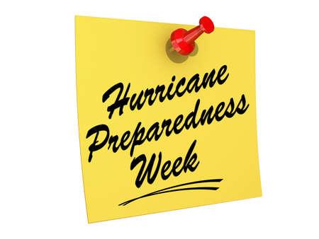 preparedness: A note pinned Hurricane Preparedness Week Stock Photo