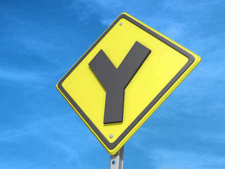 A yield road sign with Y Intersection  icon Stock Photo