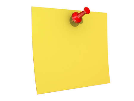 Blank Copy Space Yellow note pinned to a cork board.