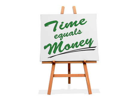 equals: Art Easel on a white background with the Time equals Money