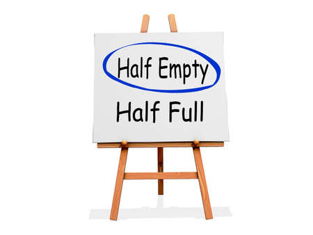 Art Easel on a white background with Half Empty circled instead of Half Full Stock Photo