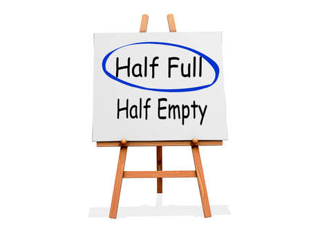 Art Easel on a white background with Half Full circled instead of Half Empty