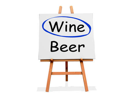 Art Easel on a white background with Wine circled instead of Beer