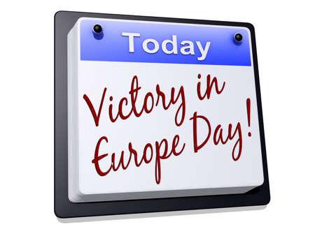 """Een dag Kalender met 'Victory in Europe Day """"op een witte achtergrond."""