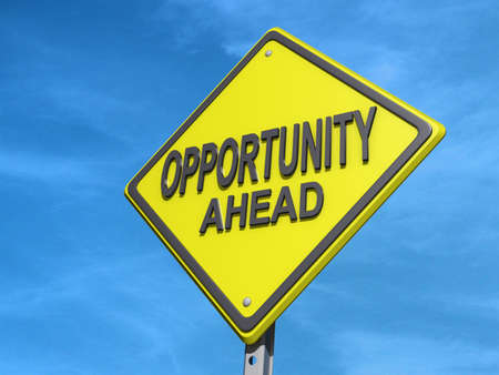 yield: A yield road sign with Opportunity Ahead