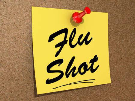 Flu Shot 텍스트가있는 코르크 판에 고정 된 메모입니다.