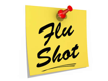 ailment: A note pinned to a white background with the text Flu Shot. Stock Photo