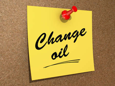 oil change: A note pinned to a cork board with the text Change Oil