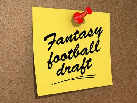 メモは、テキストのファンタジーフットボールのドラフトとコルクボードに固定