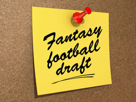A note pinned to a cork board with the text Fantasy Football Draft