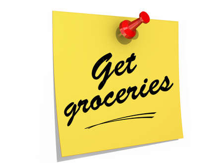 A note pinned to a white background with the text Get Groceries