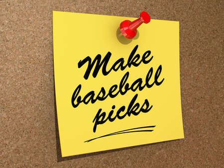 A note pinned to a cork board with the text Make Baseball Picks