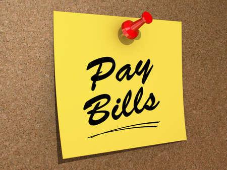 メモ本文を支払う法案のコルク板にピンで留めた