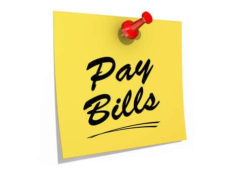 メモが支払う法案のテキストを白い背景に固定 写真素材