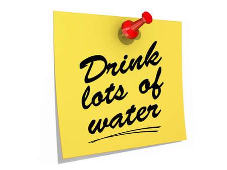 A note pinned to a white background with the text Drink Lots of Water