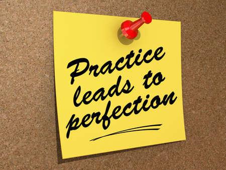 Een notitie gespeld aan een kurk boord met de tekst Practice Leads to Perfection.