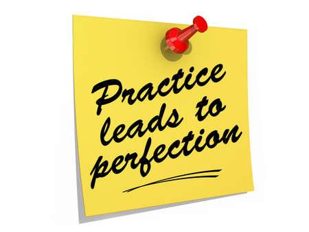 Een notitie vastgezet op een witte achtergrond met de tekst Practice Leads to Perfection.