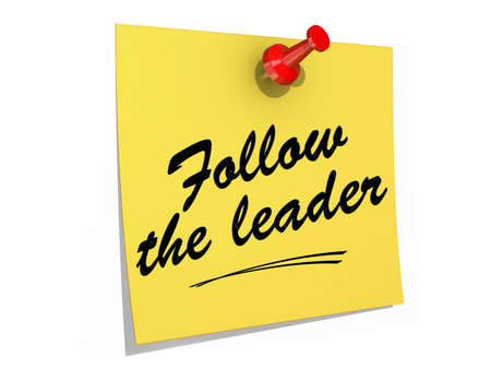 A note pinned to a white background with the text Follow the Leader