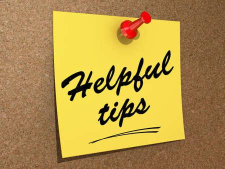 Een notitie gespeld aan een kurk boord met de tekst handige tips. Stockfoto - 19327588