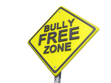 A yield road sign with a Bully Free Zone Yield Sign