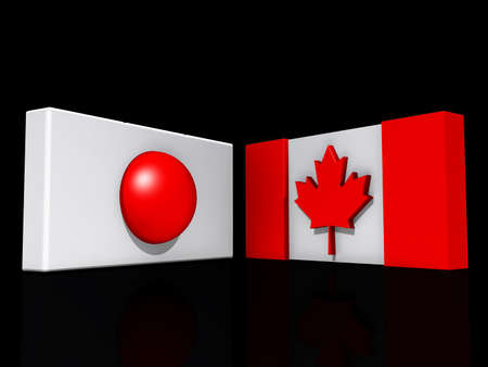 Canada and Japan Flags on a shiny white background