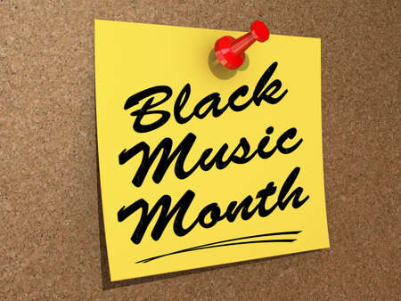 A note pinned to a white background with the text Black Music Month