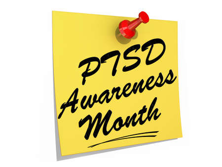A note pinned to a white background with the text PTSD Awareness Month.