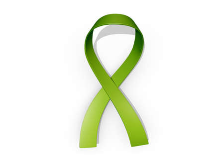 A looped green awareness ribbon