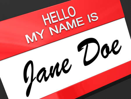 Hello my name is Jane Doe on a nametag.