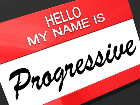 Hello my name is Progressive on a nametag.
