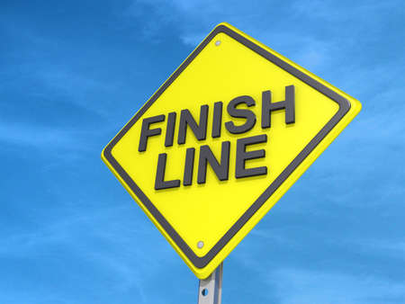 yield: A yield road sign with Finish Line