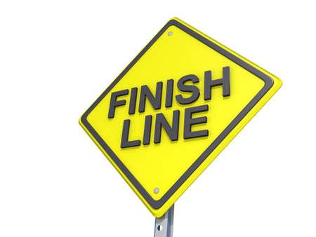 Een opbrengst verkeersbord met Finish Line Stockfoto