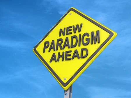 paradigma: Una se?al de tr?fico rendimiento con el nuevo paradigma Ahead Foto de archivo