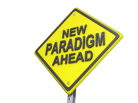 paradigm: A yield road sign with New Paradigm Ahead Stock Photo