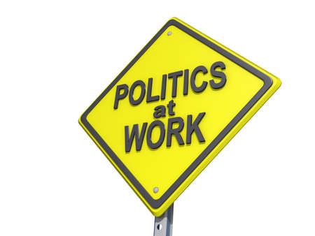 yield: A yield road sign with Politics at Work