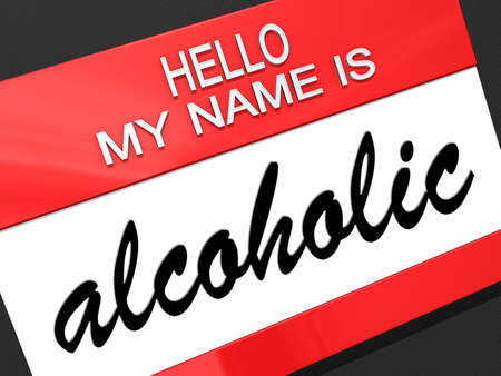 Hello my name is Alcoholic on a nametag. Stock Photo