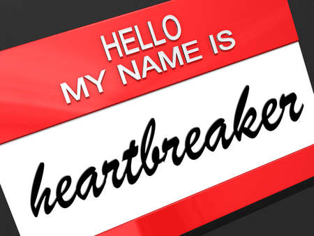 the seducer: Hello my name is Heartbreaker on a nametag. Stock Photo