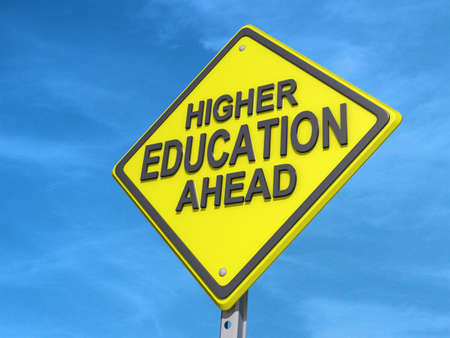 A yield road sign with Higher Education Ahead Stock Photo - 19454818