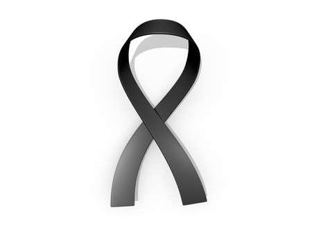 A looped black awareness ribbon
