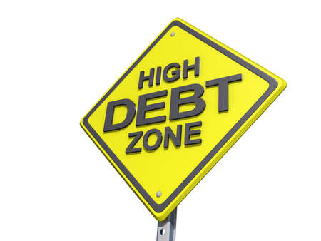 yield: A yield road sign with High Debt Zone