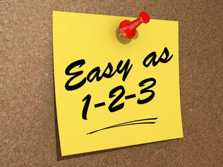 テキスト簡単として 123 とコルクボードに固定注