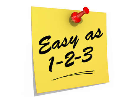 A note pinned to a white background with the text Easy As 123  Stock Photo