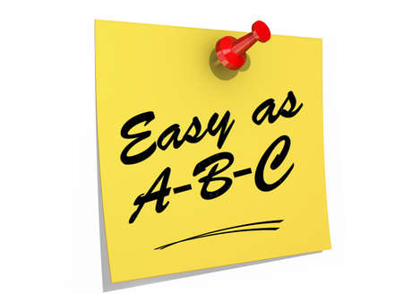 A note pinned to a white background with the text Easy As ABC  photo