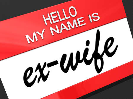 nametag: Hello my name is ex-Wife on a nametag