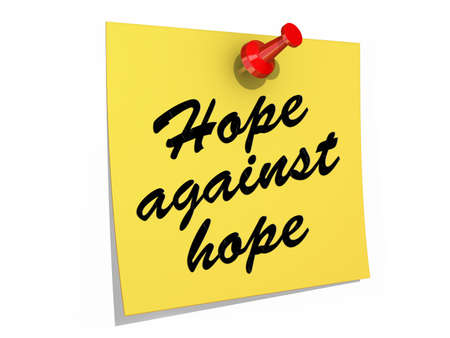 A note pinned to a white background with the text Hope Against Hope  Banco de Imagens
