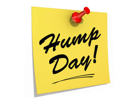 A note pinned to a white background with the text Hump Day