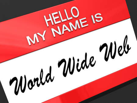 Hello my name is World Wide Web on a nametag  Stock Photo