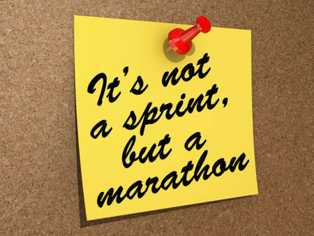 A note pinned to a cork board with the text It's Not a Sprint, But a Marathon. Stock Photo - 19454889