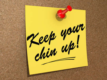A note pinned to a cork board with the text Keep Your Chin Up Stock Photo - 19454904