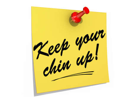 A note pinned to a white background with the text Keep Your Chin Up  Stock Photo - 19454896